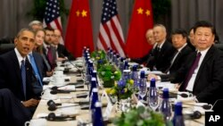 President Barack Obama speaks as he meets with Chinese President Xi Jinping during the Nuclear Security Summit in Washington, March 31, 2016. (AP Photo/Jacquelyn Martin)