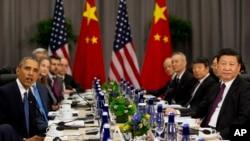 美國總統奧巴馬在與中國國家主席習近平在華盛頓召開的核安全峰會期間舉行會晤(2016年3月31日)