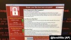 Cette image fournie par la page Twitter de @fendifille montre un ordinateur au Service pendant l'enquête de la Grande-Bretagne, 12 mai 2017.