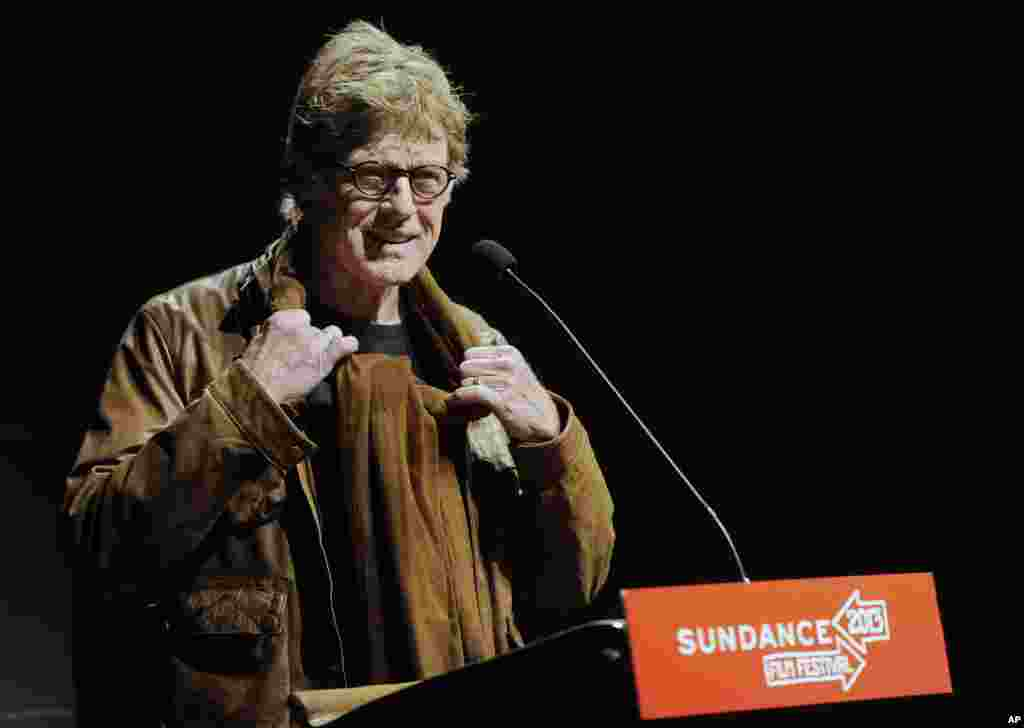 "Robert Redford, founder and president of the Sundance Institute, addresses the audience on the opening night premiere of the film ""May in the Summer"" at the 2013 Sundance Film Festival, January 17, 2013."