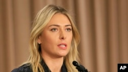 FILE - Tennis star Maria Sharapova speaks during a news conference in Los Angeles on Monday, March 7, 2016.