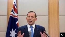 12일 중국 방문 마지막 날에 기자회견하는 토니 애벗 호주 총리