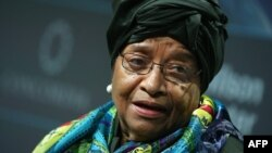 FILE - Liberian President Ellen Johnson Sirleaf is seen delivering a speech at the 2016 Concordia Summit at Grand Hyatt New York, in New York City, Sept. 20, 2016. Johnson Sirleaf will lead a mission to mediate in Gambia's post-election crisis.