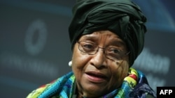 FILE - President of Liberia, Ellen Johnson Sirleaf speaks at the 2016 Concordia Summit at the Grand Hyatt New York, in New York City, Sept. 20, 2016.