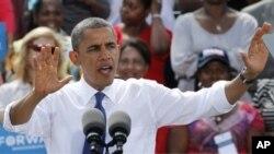 21일 버지니아주 우드브릿지에서 선거운동을 펼치는 바락 오바마 미국 대퉁령