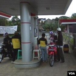 Sebuah pompa bensin Pertamina.