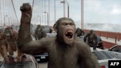 """Na mostu Golden Gejt, Cezar predvodi revoluciju koja će, na kraju, dovesti do """"Uspona planete majmuna""""."""