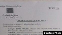 Communiqué du ministre congolais de la Justice, Alexis Thambwe, sur les personnes libérées et celles qui restent en prison (DR)