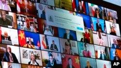 Svjetski lideri se vide na ekranu za vrijeme obraćanja predsjednika Joe Bidena, 23. april 2021.