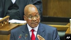 South African President Jacob Zuma delivers the State of the Nation Address during the opening of parliament in Cape Town, South Africa, February 10, 2011 (file photo)