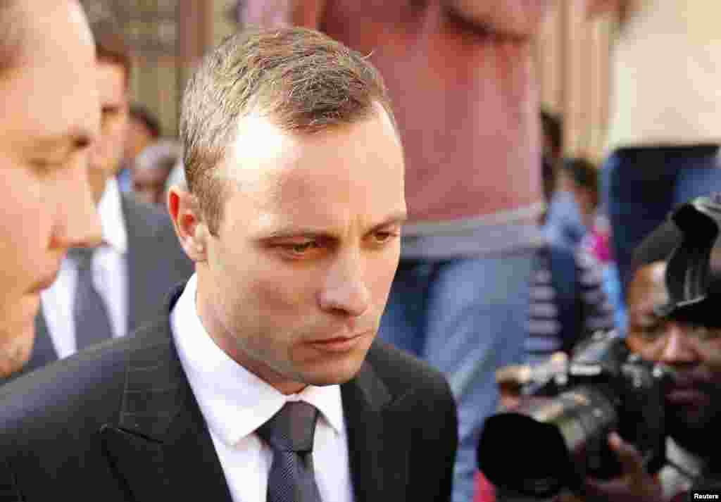 Oscar Pistorius outside the North Gauteng High Court in Pretoria, April 10, 2014.