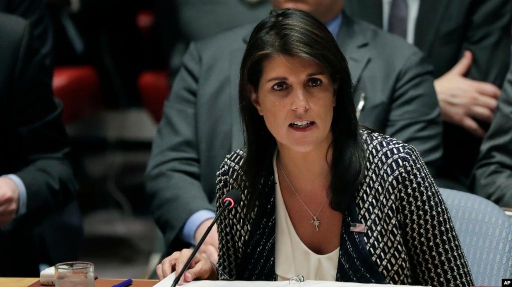 La embajadora de EE.UU. en la ONU, Nikki Haley, habló ante el Consejo de Seguridad el viernes, 13 de abril, de 2018.