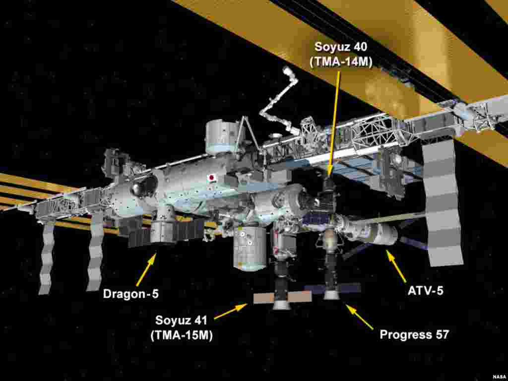 There will be five spacecraft at the International Space Station when the Dragon commercial craft arrives Jan. 12, 2015. (NASA)