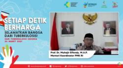 Menko PMK Muhadjir Effendy dalam tangkapan layar acara Puncak Perayaan Hari Tuberkolosis sedunia tahun 2021 di Jakarta, Rabu (24/3) mengatakan kerugian ekonomi yang diakibatkan oleh penyakit TB capai miliaran rupiah