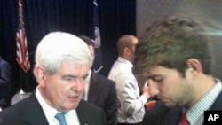 美国共和党总统参选人、国会众议院前议长金里奇和年轻选民交谈