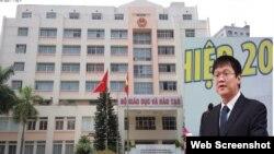 Thứ trưởng Bộ GD-ĐT Lê Hải An và Trụ sở Bộ nơi phát hiện ông tử vong sáng ngày 17/10/2019. Photo ICT/MOET