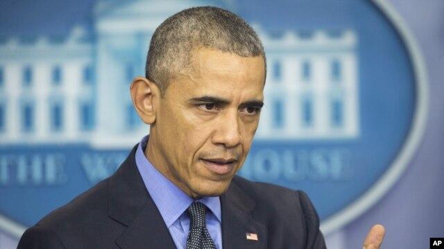 Tổng thống Barack Obama phát biểu trong cuộc họp báo tại Nhà Trắng, Washington, ngày 18/12/2015.