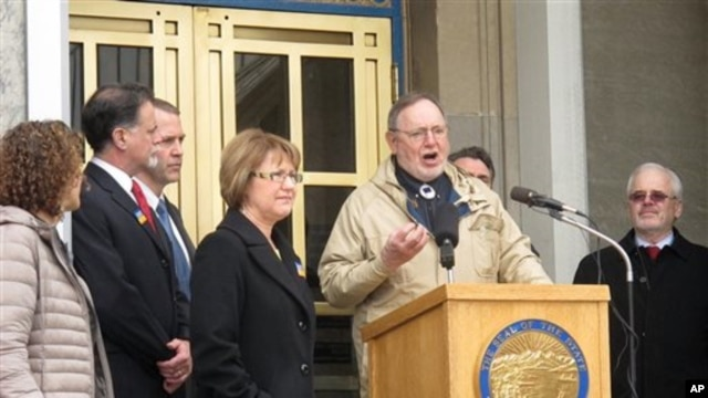 "U.S. Representative Don Young addresses a Choose Respect rally in front of the Alaska state capitol on March 28, 2013, in Juneau. While drawing criticism for calling Hispanics ""wetbacks,"" he also faces a separate ethics investigation."