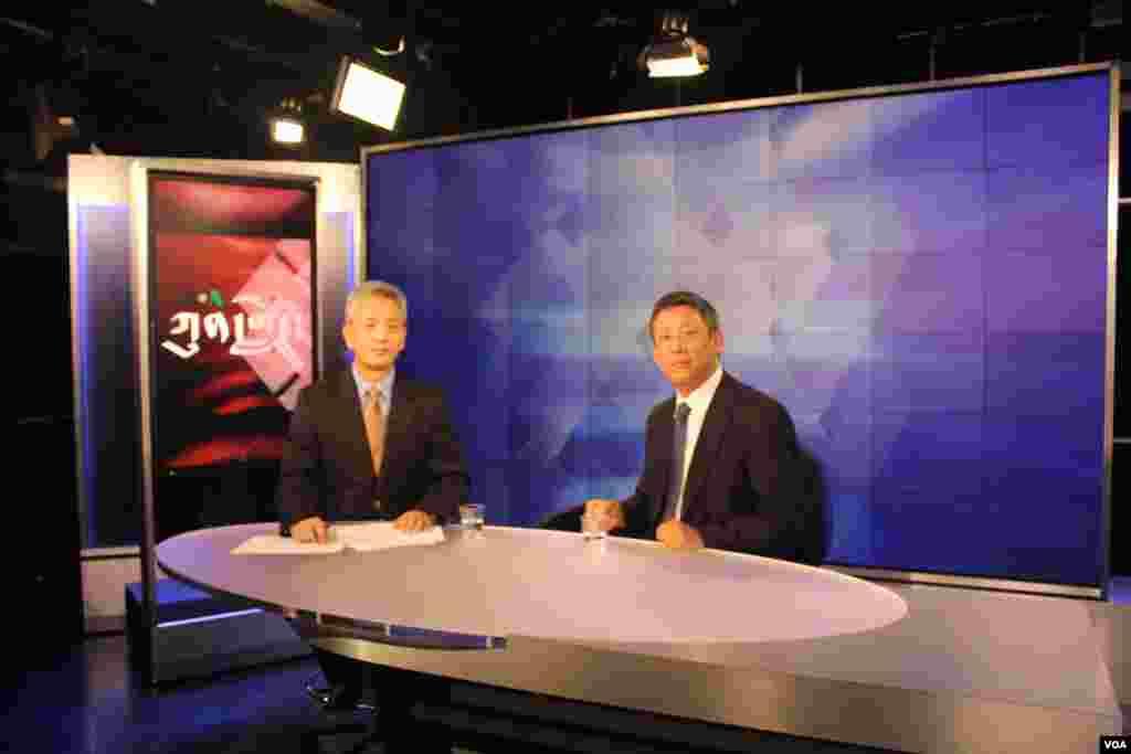 Kunleng host Dorje Tsetan and Senior editor Tsetan Wangchuk before Kuleng taping.