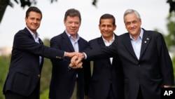 Los presidentes de los cuatro países miembros de la Alianza del Pacífico, México,Colombia, Perú y Chile. Panamá está integrado solo como miembro observador.