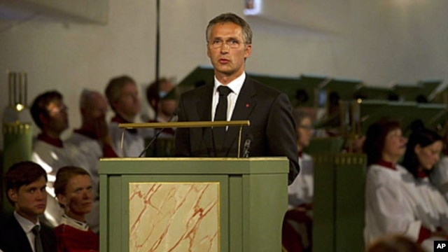 Norway's Prime Minister Jens Stoltenberg addresses mourners during the memorial service at Oslo Cathedral, Sunday, July 24, 2011