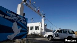 База миротворческих сил ООН у пограничного перехода Кунейтра на Голанских высотах на границе Сирии и Израиля. 7 июня 2013 г