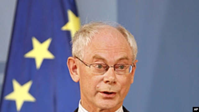 European Council President Herman Van Rompuy during a news conference at the Moncloa Palace in Madrid, Spain, July 12, 2011