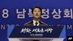 南韓總統府秘書室長任鍾皙4月26日在記者會上(美聯社)