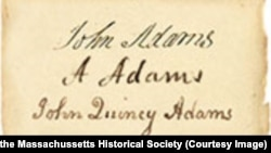 Signatures of John, Abigail and John Quincy Adams. Collection of the Massachusetts Historical Society