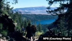Hikers above Phelps Lake