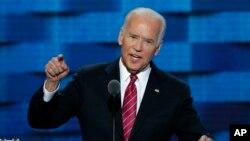 L'ancien vice-président Joe Biden parle lors de la troisième journée de la Convention nationale démocrate à Philadelphie, 27 juillet, 2016. (AP Photo / J. Scott Applewhite)