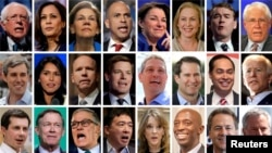 Twenty four 2020 Democratic presidential candidates are seen in a combination from file photos.