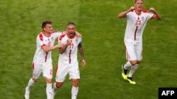 La Serbie lors du match avec le Costa Rica, en Russie, le 17 juin 2018.