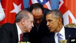 Tổng thống Mỹ Barack Obama và Tổng thống Thổ Nhĩ Kỳ Recep Tayyip Erdogan tại một phiên họp của Hội nghị thượng đỉnh G-20 ở Antalya, Thổ Nhĩ Kỳ, ngày 15/11/2015.