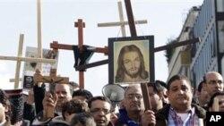 지난 19일 브뤼셀 UN 본부 앞에서 시위하는 이집트 기독교인들