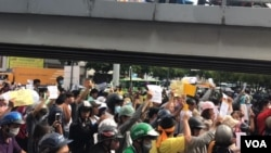 Biểu tình tại Công Viên Hoàng Văn Thụ, Sài Gòn, chống luật đặc khu và luật an ninh mạng. (Hình: FB Kim Bảo Thư)