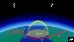 In this video grab provided by RU-RTR Russian television via AP television on Thursday, March 1, 2018, a computer simulation shows the Avangard hypersonic vehicle maneuvering to bypass missile defenses en route to target.