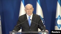 FILE - Israeli Prime Minister Benjamin Netanyahu delivers a statement in Jerusalem, Feb. 13, 2018.