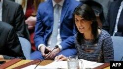 Đại sứ Mỹ Nikki Haley phát biểu sau khi bỏ phiếu ngày 22/12/2017 áp đặt chế tài mới đối với Triều Tiên, hạn chế cung cấp dầu cho Bình Nhưỡng.