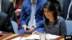 니키 헤일리 유엔주재 미국대사가 22일 안보리 회의에서 새 대북제재 결의 2397호가 채택된 후 발언하고 있다.