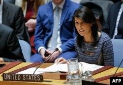 지난 22일 니키 헤일리 유엔주재 미국대사가 안보리 회의에서 새 대북제재 결의 2397호가 채택된 후 발언하고 있다.
