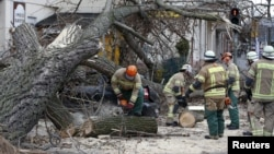 Firefighters remove parts of a tree from a street at Wedding district as Storm Niklas strikes in Berlin, Germany, March 31, 2015.
