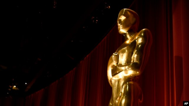 FILE - An Oscar statue is seen on stage at the 88th Academy Awards nomination ceremony in Beverly Hills, Calif., Jan. 14, 2016.