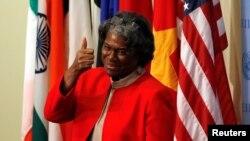 Dubes Amerika Serikat yang baru untuk PBB, Linda Thomas-Greenfield, setelah menyerahkan surat-surat kepercayaan di markas PBB, New York, 25 Februari 2021. (Foto: Reuters)