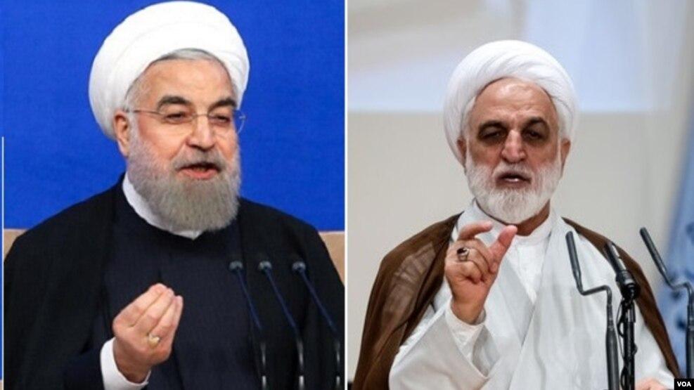 حسن روحانی رئیس جمهوی و محسنی اژه ای سخنگوی قوه قضائیه ایران