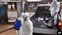 卫生人员在利比里亚把似乎死于埃博拉者的尸体抬上卡车