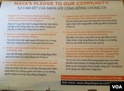 Những lời hứa ủng hộ cộng đồng Việt của ứng cử viên Maya Esparza trong một tờ rơi vận động tranh cử. (Ảnh: Bryan Đỗ)
