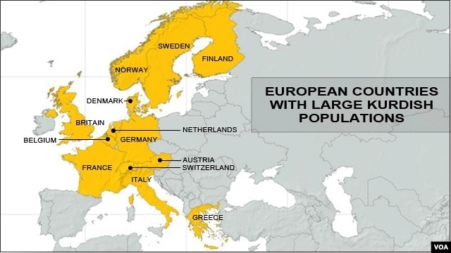 European Countries with Large Kurdish Populations