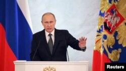 Tổng thống Nga Vladimir Putin phát biểu bài diễn văn liên bang hàng năm trước Hội đồng Liên bang ở điện Kremlin, Moscow, 4/12/2014.