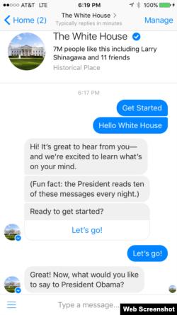 民众现可通过脸书bot与奥巴马总统联络